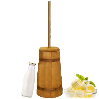 Large Wood Butter Churn, Making Butter