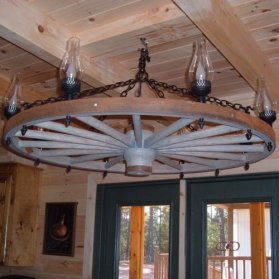 Click To View Large Image Of The Wagon Wheel Chandelier