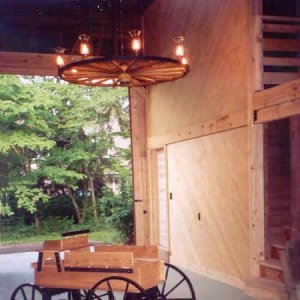 Wood Wagon Wheel Chandeliers