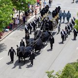 Lincoln Hearse heads north on Fourth Street in the funeral procession