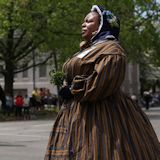 Reenactor Yulanda Burgess of Detroit, Mich., her great-great grandfather, Armstead Burgess, was a member of the 6th Regiment